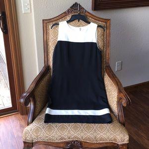 Ann Taylor black and ivory white dress
